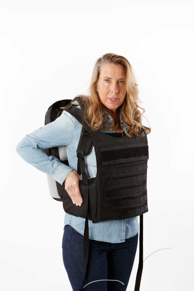 switchblade bulletproof backpack commuter deployed woman