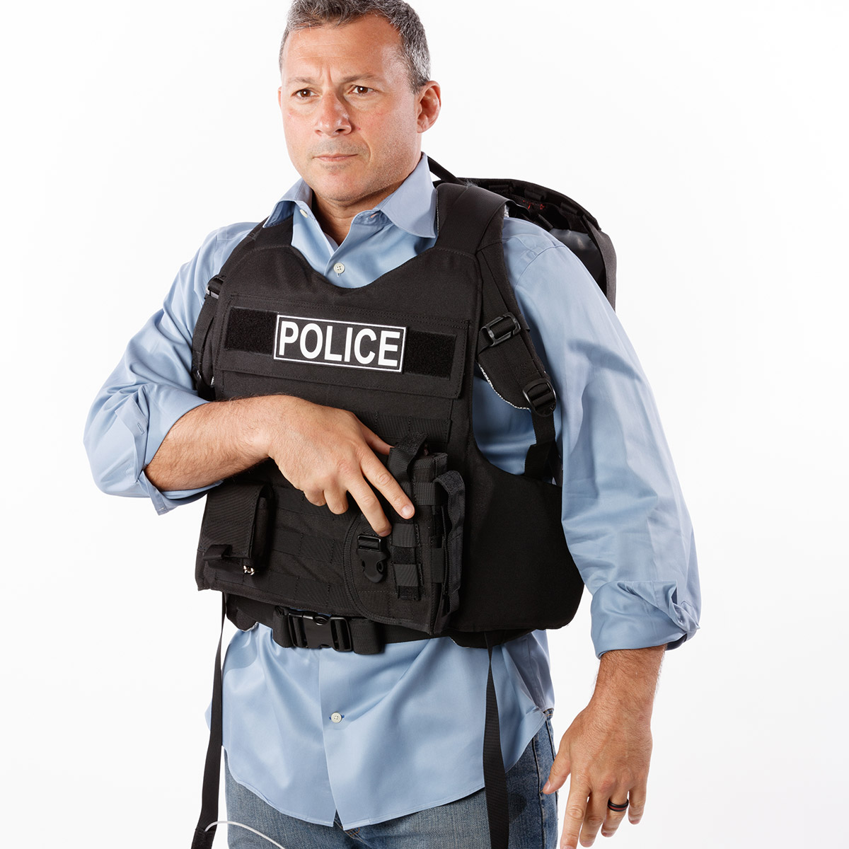 deployed switchblade bulletproof backpack with police rocker