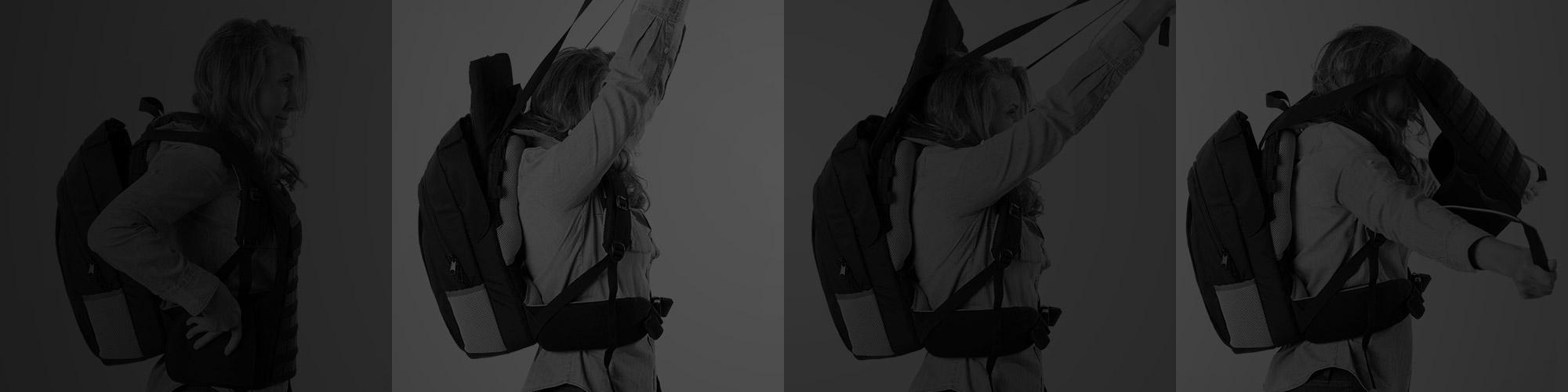 women deploying bulletproof backpack into vest