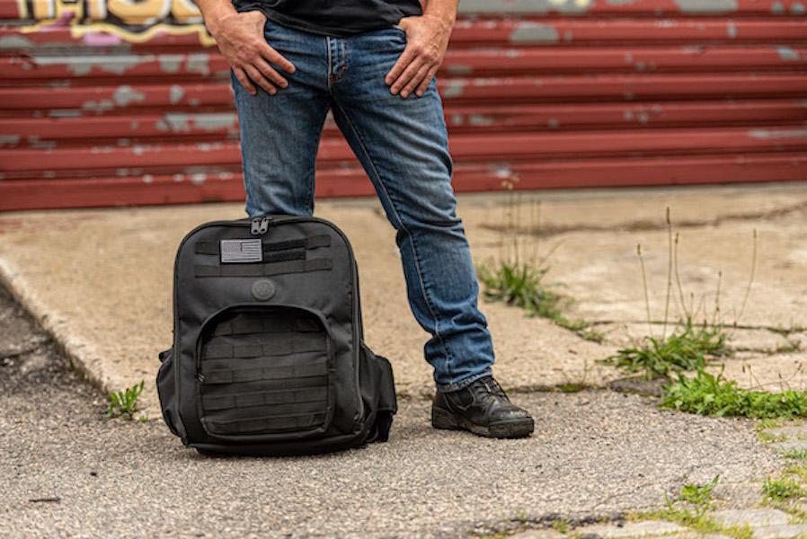 Bulletproof backpack on ground